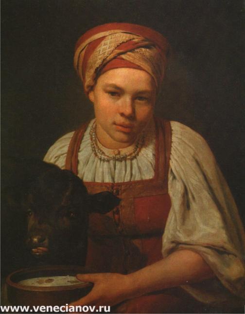 Девушка с теленком