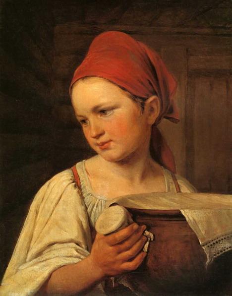 Девушка с крынкой молока