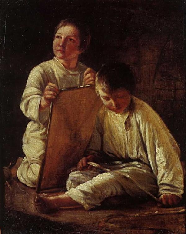 """1820 Венецианов А.Г. """"Два крестьянских мальчика со змеем"""""""
