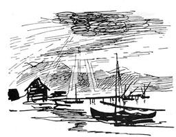 Набросок из серии каспийских зарисовок (Н.Н. Купреянов)