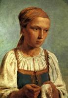 Крестьянская девушка за вышиванием.
