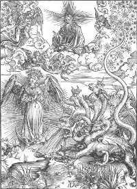 """Фрагмент картины Дюрера """"Апокалипсис"""" - """"Жена облеченная в солнце и дракон"""""""