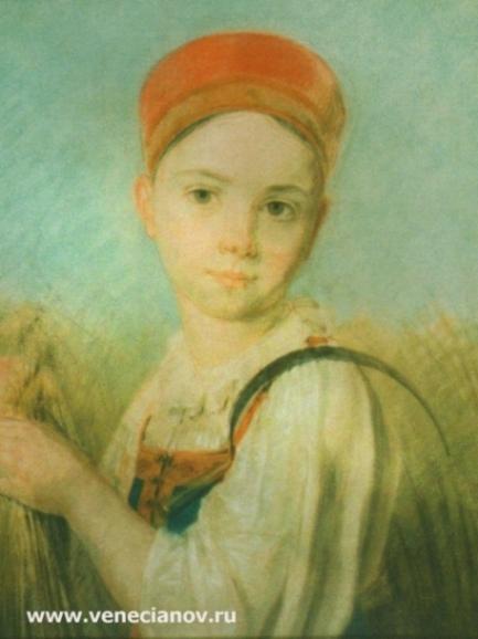 Крестьянская девушка с серпом во ржи. 1820-е