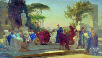Гораций читает свои сатиры меценату (Ф.А. Бронников, 1863 г.)