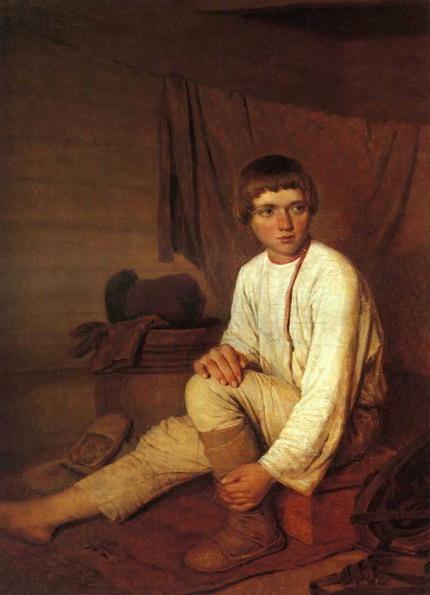 Крестьянский мальчик, надевающий лапти.